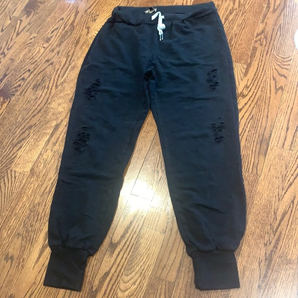 Olivaceous Pants - Oliviaceous Black ripped sweatpants.